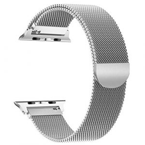 YOUKESI Apple Watch Armband 42mm, Milanaise Schlaufe Edelstahl Armbänder mit Einzigartiger Magnetverriegelung ohne Schnalle für Apple Watch 42mm Series 3/2/1, Sport, Edition, Nike+ (Silber 42mm)
