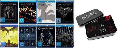 Game of Thrones Staffel 1-8 Blu-ray Set (1+2+3+4+5+6+7+8, 1 bis 8) Die komplette Serie + Games of Thrones Socken 3er Set Stark Targaryen Logo / Gr. 39-42 in Metallbox